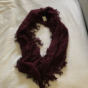 Maroon fringe infinity scarf. New with tags.